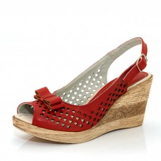 Дамски сандал с отворени пета и пръсти в червено от 34 номер