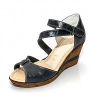 Дамски сандал на платформа - тъмно син