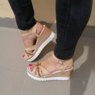 Дамски сандал на платформа имитация въже - КАПУЧИНО