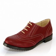 Дамски елегантни обувки с швейцарски мотив в цвят Марсала