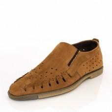 Мъжка лятна обувка - тютюн/нубук