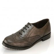 Дамски елегантни обувки с швейцарски мотив в металик