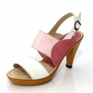 Дамски сандали на висок ток - розово